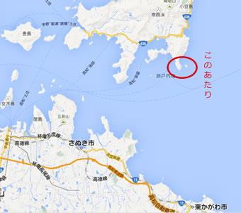 さぬき市と小豆島の地図の画像