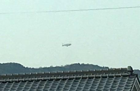 2016年4月9日 津田の松原上空の飛行船の写真