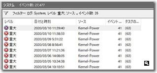 Windows 10 システムログ 重大エラーの画像